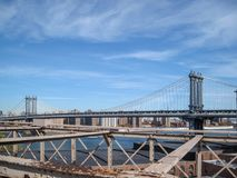 View from the Brooklyn Bridge in 2009. NYC royalty free illustration