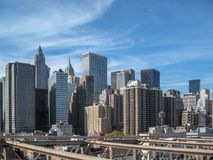 View from the Brooklyn Bridge in 2009. NYC Royalty Free Stock Photo
