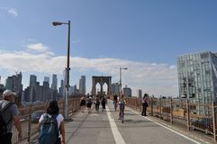 Brooklyn Bridge Walking Path in New York City royalty free stock photography