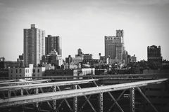 View of Brooklyn from Brooklyn Bridge stock image