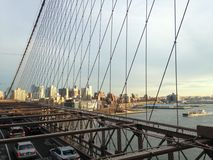 View of Brooklyn from Brooklyn Bridge in New York, NY Royalty Free Stock Photo