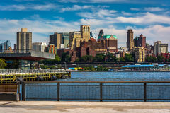 View of Brooklyn from the East River Greenway in Manhattan, New Stock Image