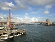View of Brooklyn and Manhattan Bridges from Manhattan. Stock Photo