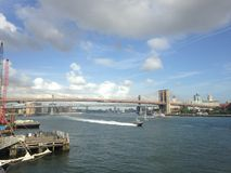 View of Brooklyn and Manhattan Bridges from Manhattan. Stock Images