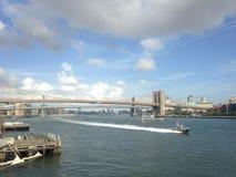View of Brooklyn and Manhattan Bridges from Manhattan. Royalty Free Stock Photos