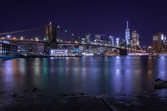 View from brooklyn to Manhattan New York. Long exposure on the brooklin bridge Stock Photography