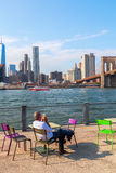 View from Brookyln over East River in New York City Stock Photo