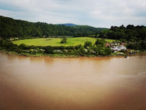 View of brown river and countryside from Chepstow Castle royalty free stock photos