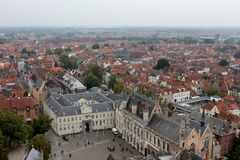 View of Bruges from Belfry Tower (Belfort) Royalty Free Stock Photography