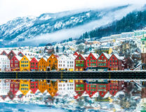 View on Bryggen in Bergen Royalty Free Stock Photo