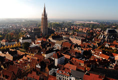 View from the Brugge Tower. Panoramic view of Brugge from the tower, Belgium Royalty Free Stock Images