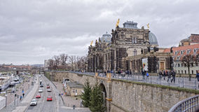 View from Bruhl`s terrace. Pedestrians and vehicles move in sig Stock Photography