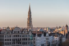 View of Brussels, capital of Belgium, and City hall tower in beautiful early evening stock image