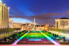 View of Brussels city center in the evening Stock Photography