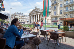 View on the Brussels stock-exchange from famous sandwich bar.. Brussels, Belgium - July 31, 2015: Terrace of the famous sandwich shop le Suisse with view on the Stock Photography