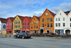 The view of Bryggen Hanseatic Wharf Stock Photo