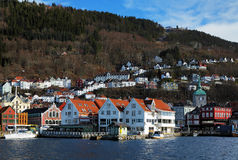 View on the Bryggen and Mount Floyen in Bergen Royalty Free Stock Photography