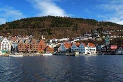 View on the Bryggen and Mount Floyen in Bergen. View on the Bryggen, oldest part of Bergen, and Mount Floyen, Norway Stock Photo