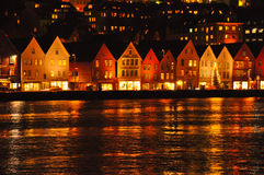 View of Bryggen at night. Stock Photos