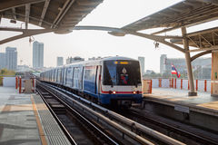 View of BTS skytrain arrives to BTS station Royalty Free Stock Photography
