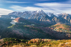 A view of Bucegi mountains in a November morning. A beautiful view of Bucegi mountains. This pictures was taken from Belvedere crag, Paraul Rece, in a november royalty free stock photo