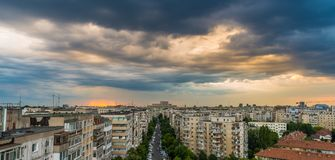 View of Bucharest. With people's House from top of block flats stock photo