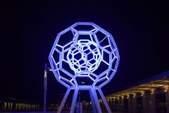 "Illuminated Interactive Science Museum Exploratorium in San Francisco at Night. View of ""Buckyball"", a towering 25-foot illuminated sculpture made by stock photos"