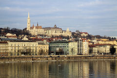 View on Buda bank of Budapest, Hungary. We can see Matthias Church, Fisherman's Bastion and Hilton hotel Stock Photos