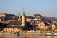 View on Buda bank of Budapest, Hungary. We can see St Anna Church Royalty Free Stock Photography