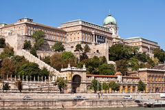 View of buda castle in budapest. From danube river stock photos