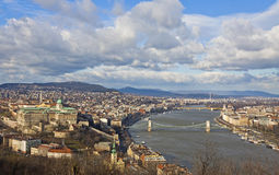 View of Buda Castle district and Dunabe river in Budapest Stock Images