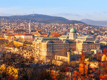 View of Buda Castle from Gellert Hill on sunny evening, Budapest, Hungary, Europe, UNESCO World Heritage Site Royalty Free Stock Photography