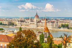 View from Buda at the parliament in Budapest Royalty Free Stock Photography