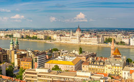 View from Buda at the parliament in Budapest Stock Images