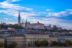 View of Buda part in Budapest  St. Matthias church Stock Photos