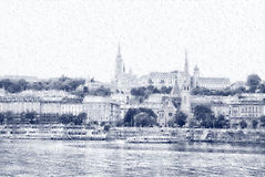 View  Buda side of Budapest in the heavy rain Royalty Free Stock Images