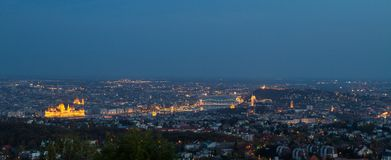 Panoramic view of Budapest in the blue hour