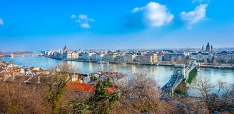 View of Budapest city with Danube river and the parliament. View of Budapest city with Danube river and the parliament, Hungary Royalty Free Stock Images