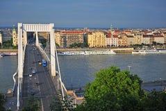 View of Budapest city and Elisabeth bridge Stock Photo