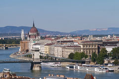 View of Budapest with the Danube, the Chain Bridge and the Parli. Ament Building Stock Photos
