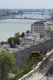 view budapest danube parliament royal palace rooftops blue sky crossing trees buda buildings panoramic historic pest river brid stock images