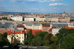 View of the Budapest and Danube river from Buda Castle Stock Photography