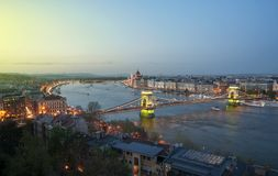 View of Budapest and the Danube river from Gellert hill Royalty Free Stock Image