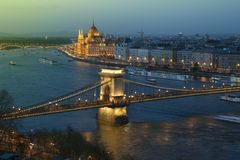 View of Budapest and the Danube river from Gellert hill Stock Photos