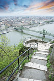 View of Budapest and the Danube river from Gellert hill Royalty Free Stock Photo