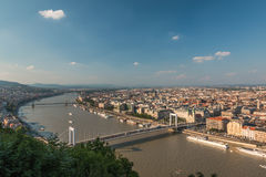 View of Budapest and the Danube river in Hungary Royalty Free Stock Image