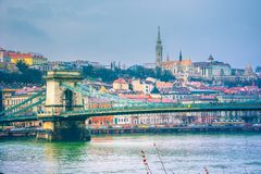 View of Budapest with Danube river, the palace and chain bridge. View of Budapest with Danube river, the palace and chain bridge, Hungary Royalty Free Stock Images