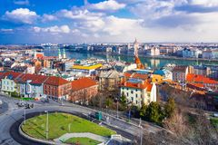 View of Budapest with Danube river, the palace and chain bridge. View of Budapest with Danube river, the palace and chain bridge, Hungary Royalty Free Stock Photo