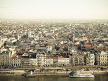 View on Budapest from Gellert Hill, Hungary. Houses, river Danub Stock Photos