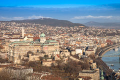 View on Budapest from Gellert Hill, Hungary. Houses, river Danub Royalty Free Stock Images